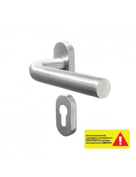 73307_Гарнитур для профильных дверей DL 040UR/F PZ L-form Rt (нержавеющая сталь) на розетках