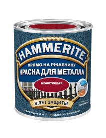 HAMMERITE HAMMERED гладкая эмаль по ржавчине, красная (0,75л)