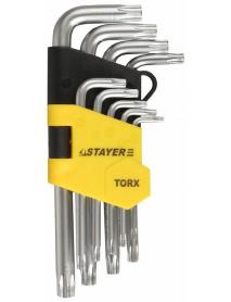 """Набор STAYER """"MASTER"""": Ключи имбусовые короткие, Cr-V, сатинированное покрытие, пластиковый держатель, Т10-Т50мм, 9 предметов, 2743-H9"""