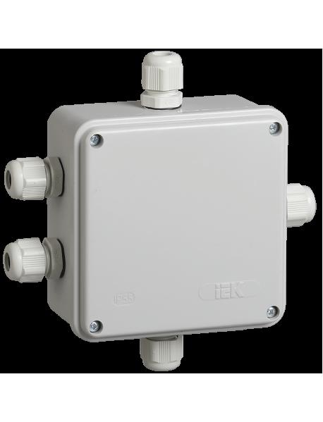 Коробка КМ41330 распаячная для о/п 100х100х50 мм IP55 (RAL7035, гермовводы PG9 5 шт)