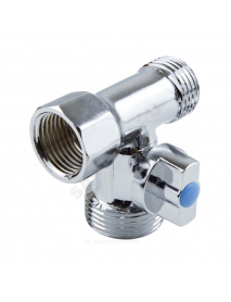 Кран шаровой латунный бытовой хром 1040 ВР/НР/НР редуцированный бабочка Aquasfera