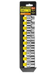 """Набор STAYER """"STANDARD"""": Торцовые головки (1/2"""") на пластиковом рельсе, 10-19мм, 10 предметов 27755-H10"""