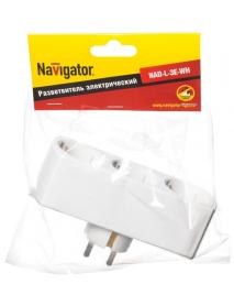 Разветвитель Navigator 94 672 NAD-L-3E-WH 3 гн. (в ряд) с/з
