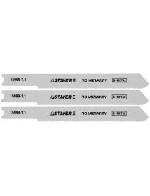"""Полотна STAYER """"PROFI"""" для эл/лобзика, Bi-Metall, по металлу (0,5-1,5мм), US-хвост., шаг 1,1мм, 50мм, 3шт 15999-1,1"""
