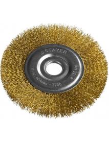 """Щетка STAYER """"PROFESSIONAL"""" дисковая для УШМ, витая стальная латунированная проволока 0,3мм, 150мм/22мм, 35122-150"""