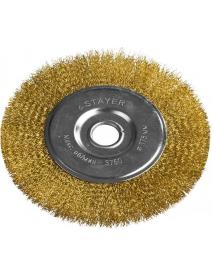 """Щетка STAYER """"PROFESSIONAL"""" дисковая для УШМ, витая стальная латунированная проволока 0,3мм, 175мм/22мм, 35122-175"""