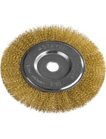 """Щетка STAYER """"PROFESSIONAL"""" дисковая для УШМ, витая стальная латунированная проволока 0,3мм, 200мм/22мм, 35122-200"""
