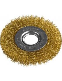 """Щетка STAYER """"PROFESSIONAL"""" дисковая для УШМ, витая стальная латунированная проволока 0,3мм, 100мм/22мм, 35122-100"""