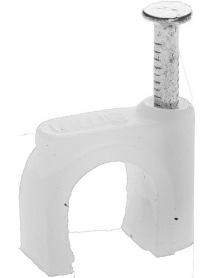 """Скоба-держатель STAYER """"MASTER"""" полипропиленовая, для круглого кабеля, с оцинкованным гвоздем, 5 мм, 100 шт, 4510-05"""