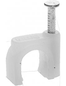 """Скоба-держатель STAYER """"MASTER"""" полипропиленовая, для круглого кабеля, с оцинкованным гвоздем, 7 мм, 100 шт, 4510-07"""
